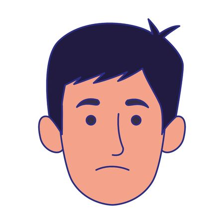 cartoon man face with sad expression over white background, vector illustration 일러스트