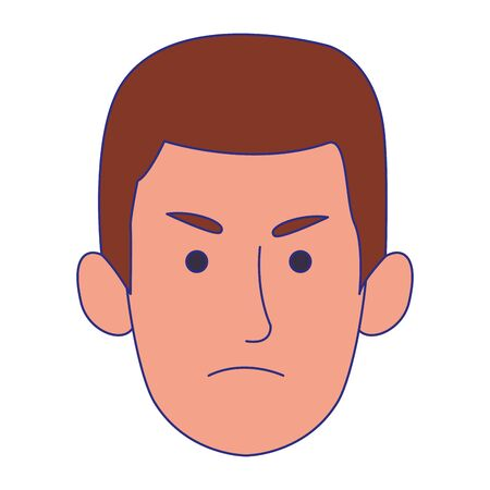 cartoon man face with angry expression over white background, vector illustration