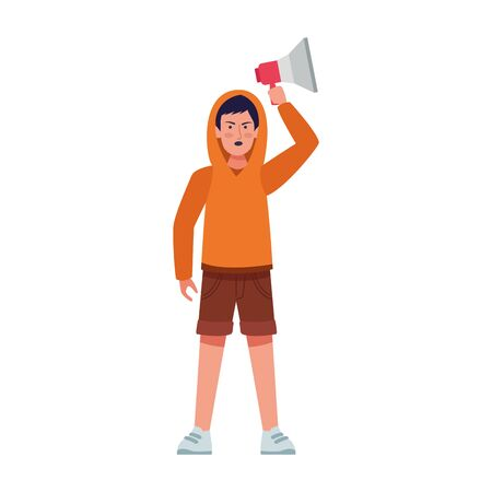 cartoon young man using a sweater and holding up a megaphone over white background, colorful design, vector illustration 일러스트