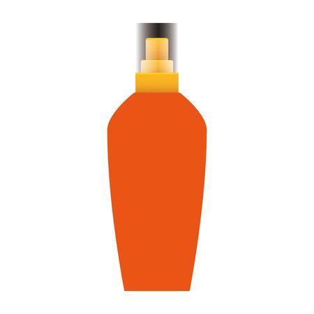 sun bronzer cosmetic bottle icon over white background, vector illustration Ilustrace