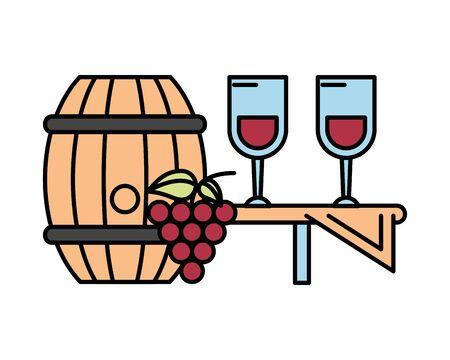 grapes fresh fruits with wine barrel vector illustration design