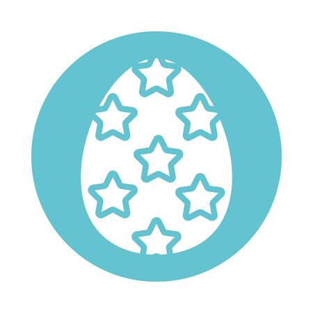 easter egg painted with stars block style vector illustration design