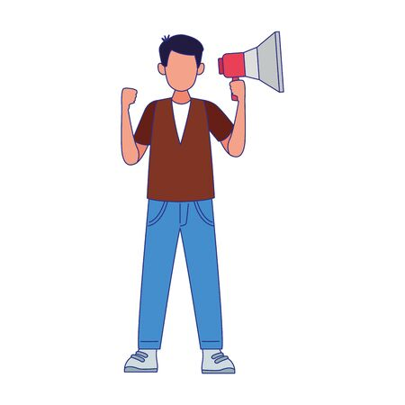 cartoon angry man using a megaphone over white background, colorful design, vector illustration