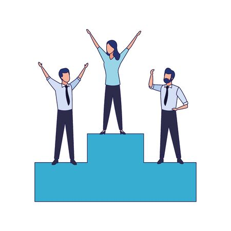 podium with excited people standing icon over white background, vector illustration