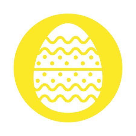 easter egg painted with bars and points block style vector illustration design Ilustração