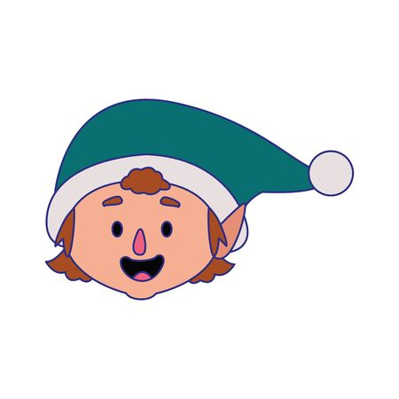 cartoon christmas elf over white background, vector illustration
