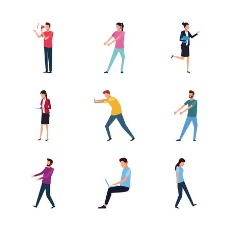 set of people doing actions over white background, vector illustration