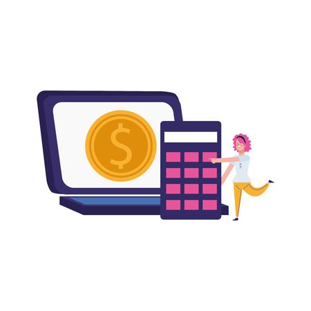 laptop computer with money coin and calculator over white background, vector illustration Illusztráció