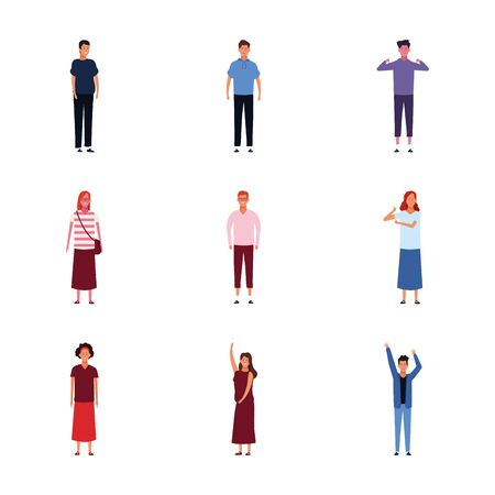 icon set of adult people standing over white background, vector illustration