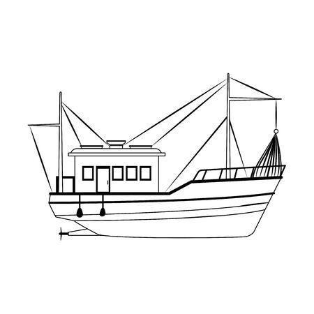 fishing boat icon image over white background, vector illustration