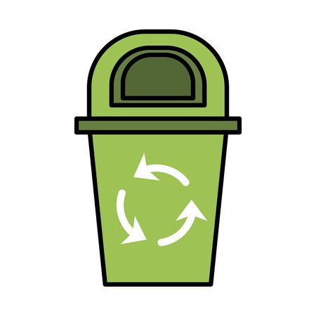 waste bin with recycle arrows vector illustration design