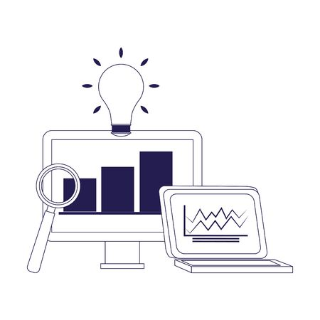 computer and laptop with magnifying glass and bulb over white background, flat design, vector illustration