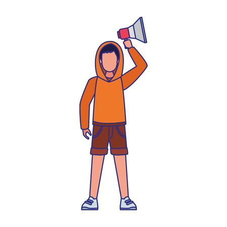 cartoon young man using a sweater and holding up a megaphone over white background, vector illustration