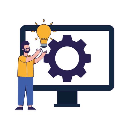 man holding a bulb and big computer with gear wheel on screen over white background, vector illustration