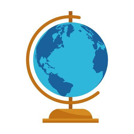 education globe icon over white background, vector illustration