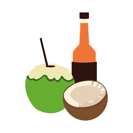 beer bottle and coconut drink icon over white background, vector illustration Иллюстрация