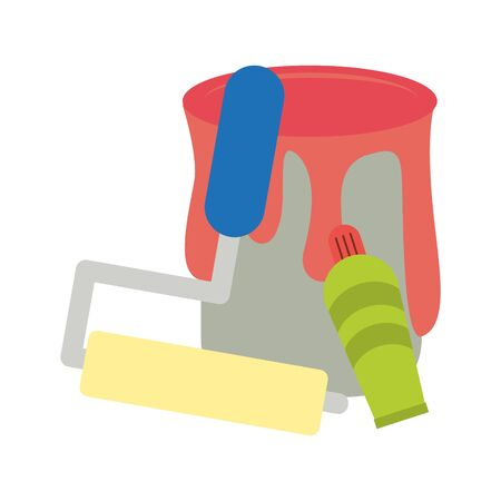 Paint bucket with roilling pin and spray bottle vector illustration graphic design