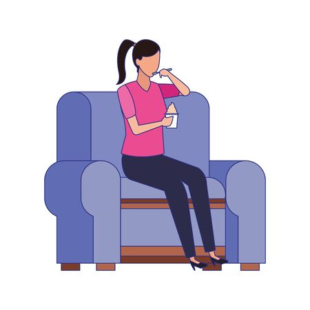woman sitting on couch icon over white background, vector illustration Illustration