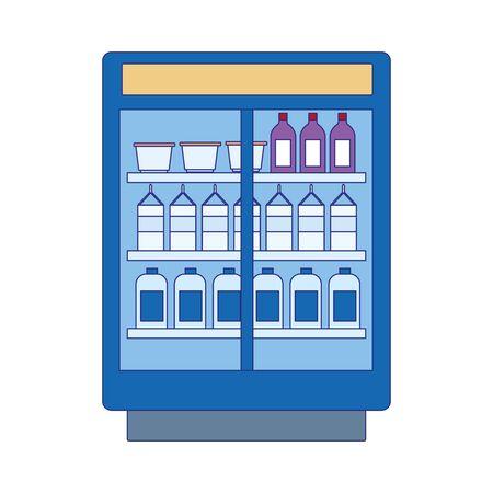 beverages bottles fridge icon over white background, vector illustration