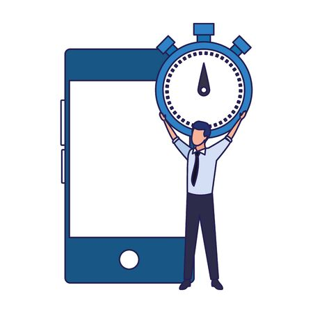 businessman holding a big chronometer and smartphone device over white background, vector illustration