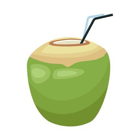 coconut drink icon over white background, vector illustration Иллюстрация