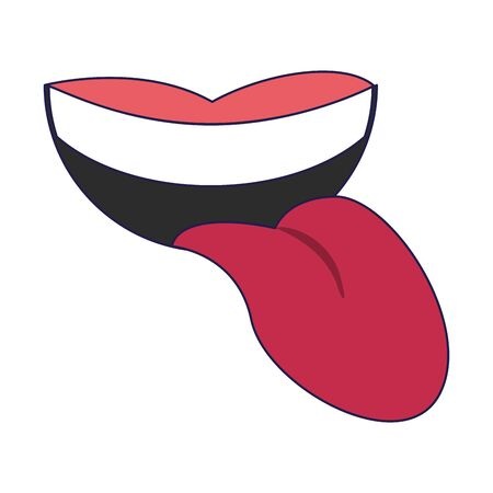 Mouth with tongue out cartoon isolated Design