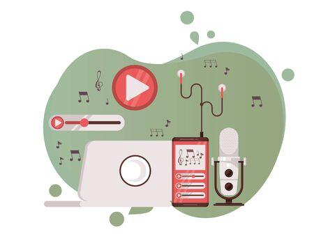 microphone retro with laptop and radio icons vector illustration design Ilustración de vector