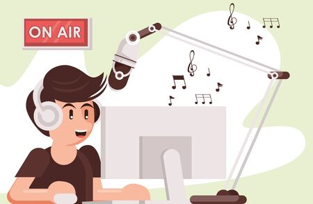 announcer with radio microphone and earphones vector illustration design
