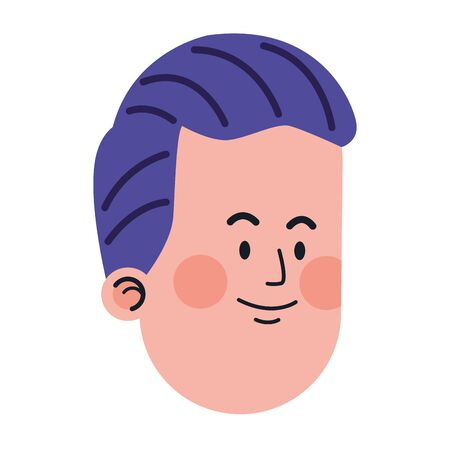 cartoon man with purple hair icon over white background, vector illustration