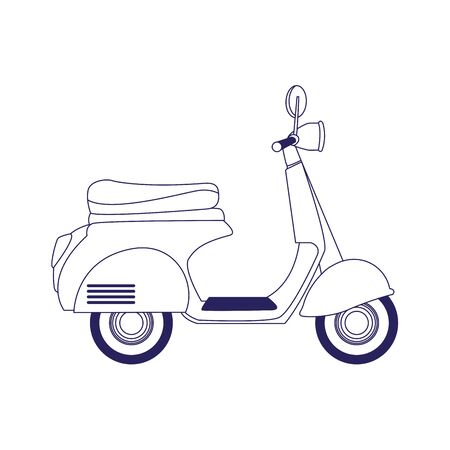 classic motorcycle icon over white background, flat design, vector illustration