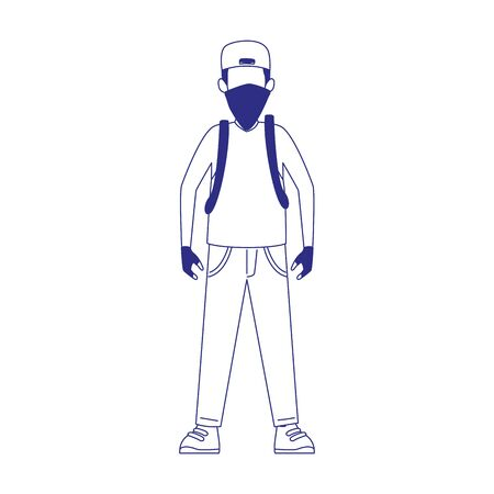 cartoon man standing with kerchief icon over white background, flat design, vector illustration 일러스트