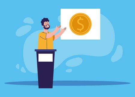 cartoon man on tribune showing a board with money coin over blue background, colorful design, vector illustration 일러스트
