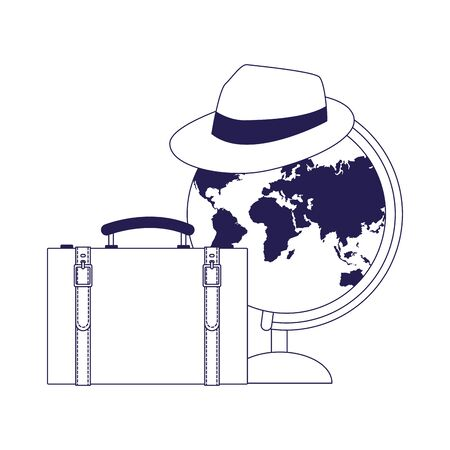 globe with hat and travel suitcase icon over white background, vector illustration 일러스트