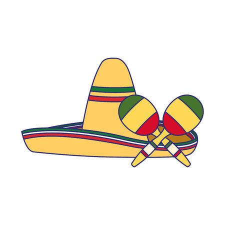 Mexican hat and maracas design, Mexico culture tourism landmark latin and party theme Vector illustration