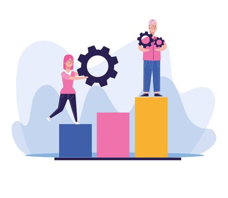 man and woman with gear wheels standing on chart bar graph over white background, colorful design, vector illustration Illustration
