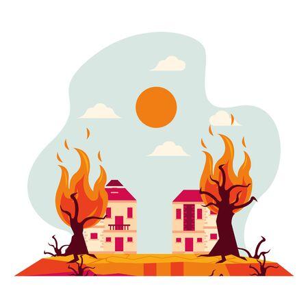 houses in fire forest dry global warming scene vector illustration design Illustration