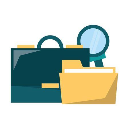 Business briefcase folder and magnifying glass vector illustration graphic design Ilustración de vector