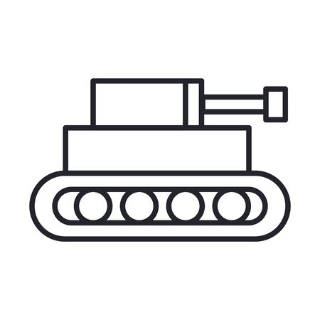 tank military force line and fill style icon vector illustration design Vectores