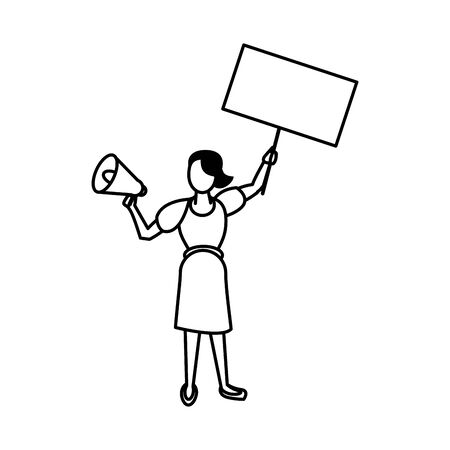activist woman with protest banner and megaphone vector illustration design Vectores