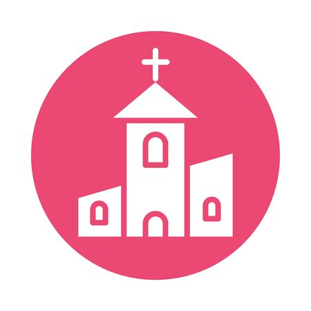 church religious building block style vector illustration design