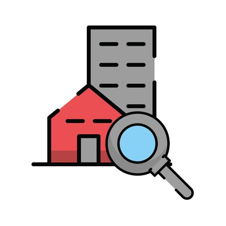 magnifying glass search with building vector illustration design