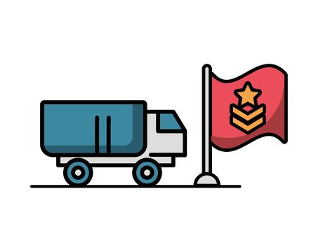 military force truck with flag vector illustration design
