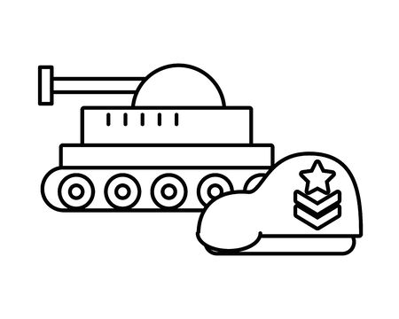 tank military force with beret vector illustration design