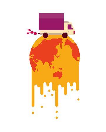 world planet melting global warming with truck vector illustration design