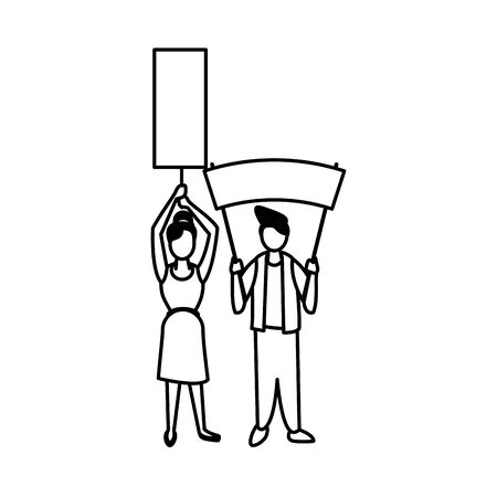 activists couple with protest banners vector illustration design Standard-Bild - 141345130