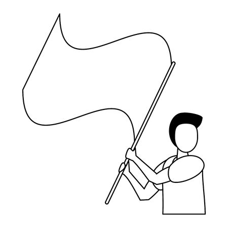 activist man protesting with flag vector illustration design