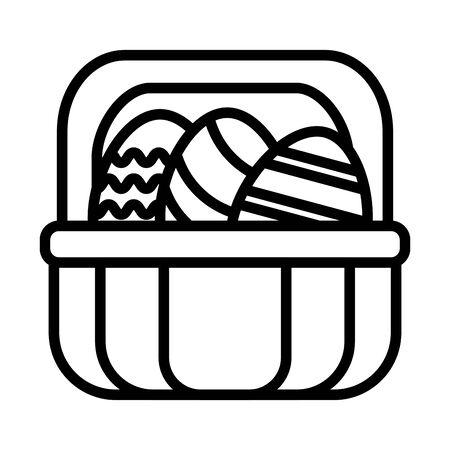 spring eggs painted in basket line style vector illustration design