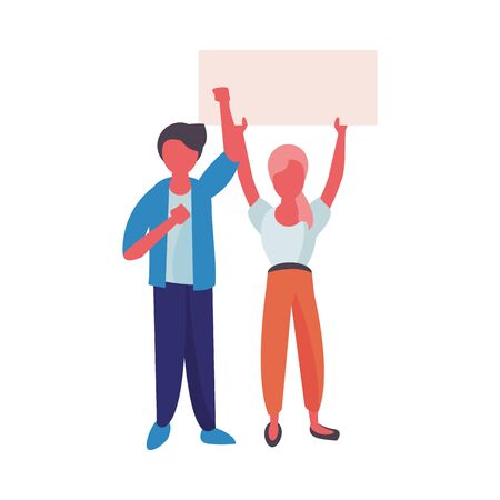 activists couple with protest banners vector illustration design Vectores