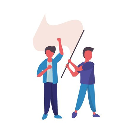 activist men protesting with flag vector illustration design