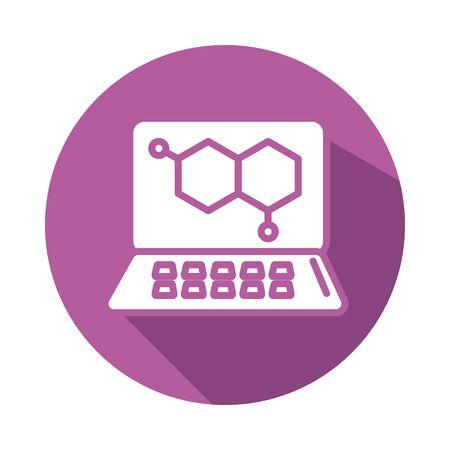 dna medical symbol in laptop block style vector illustration design